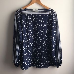VINTAGE navy blue white polka dot open sleeve top